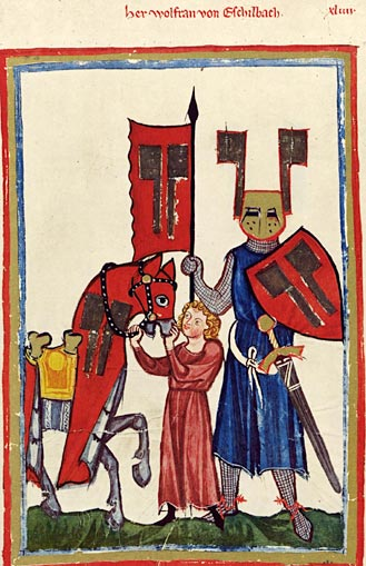 Cartoonish drawing of a mediæval knight and his squire